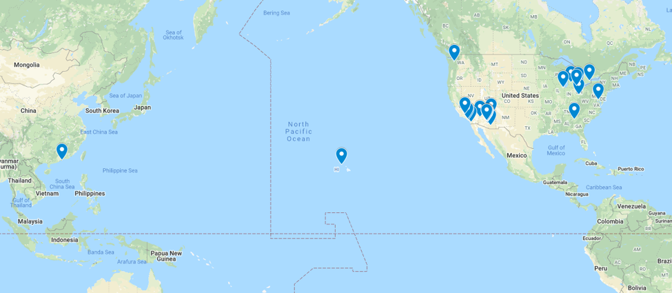 Google Maps results of online students around the globe